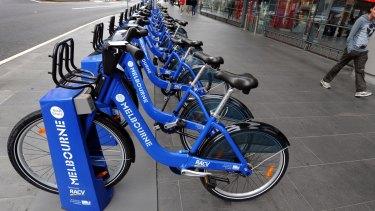 Melbourne Bike Share bikes sitting outside Southern Cross station.