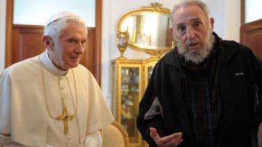Pope Benedict meets Fidel Castro at the Vatican embassy in Havana in 2012.