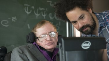 Professor Stephen Hawking with personal assistant Jonathan Wood.