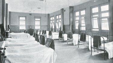 Picture supplied - source unknown. A boarding school dormitory - then. Old picture.