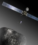 An artist's impression shows the Rosetta orbiter deploying the Philae lander to comet 67P.