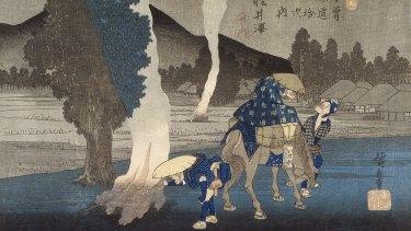A detail from Utagawa Hiroshige's Karuizawa,  from around 1830.