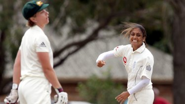 Isa Guha (right) celebrates a wicket in a 2008 Ashes Test