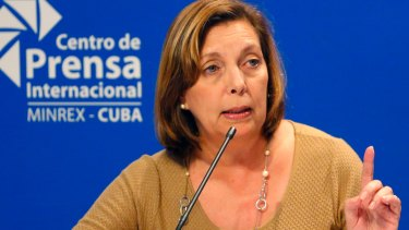 Josefina Vidal, who has been the public face of Cuba's diplomatic opening with the US, speaks to reporters in Havana, Cuba.
