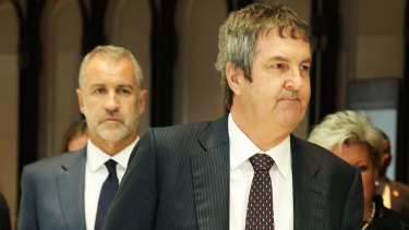 Crown Resorts CEO Rowen Craigie (front) and chairman Robert Rankin remain concerned for staff in China.