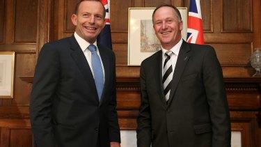 Tony Abbott poses with New Zealand counterpart John Key.