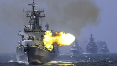 A Chinese guided missile destroyer takes part in a week-long China-Russia navy exercise in the East China Sea off Shanghai in 2014.