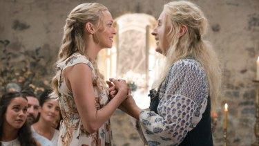 Amanda Seyfried, left, and Meryl Streep in Mamma Mia! Here We Go Again.