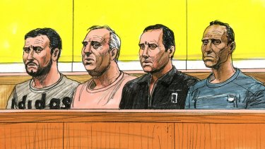 A sketch of (from left) Omer Tok, Christopher Peroulis, Youssif Tawfik and Mohamed Kaddour, made during their appearance in Melbourne Magistrates Court on Wednesday.