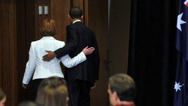 Barack Obama with Julia Gillard in 2011.