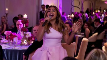 Jessica Mauboy performs at the Lancome 80th birthday Bastille Day dinner at The Langham Sydney.