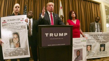 Donald Trump uses a news conference to draw attention to lives lost in crimes committed by undocumented immigrants.