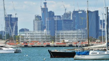 The view of the current Webb Dock redevelopment from Williamstown.