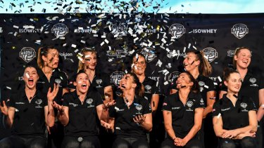 Here we come: The launch of the Collingwood Magpies netball team.