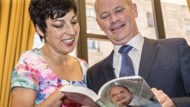 Campbell Newman with his wife Lisa Newman at the launch.
