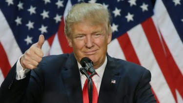 Republican presidential candidate Donald Trump giving a speech. But does language even matter.