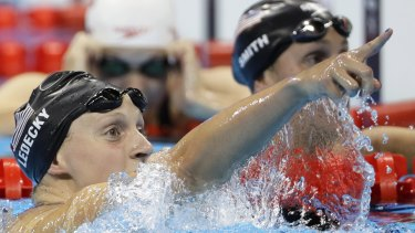 United States' Katie Ledecky celebrates after setting a world record in the women's 400-metre freestyle final.