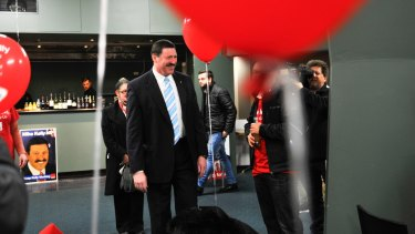 Labor candidate for Eden-Monaro Mike Kelly arrives at his celebration at Queanbeyan Leagues Club on Saturday night.