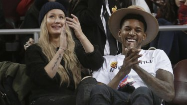 Los Angeles Lakers' Nick Young with fiancee and  Australian recording artist Iggy Azalea.