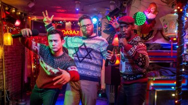 Seth Rogen wears his star of  David Christmas jumper in <i>The Night Before</i>, with left, Joseph Gordon-Levitt  and Anthony Mackie.