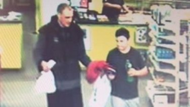 Alex is captured on CCTV at the Waitarere Four Square supermarket on Monday.