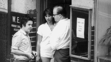 The Protest Years: Bob Gould, the ACTU's Jennie George and Denis Freney are photographed by ASIO at the founding meeting of the Revolutionary Socialist Alliance in 1969.