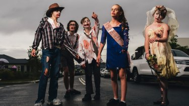Our contemporary Halloween embraces an anything-with-blood-on-it-including-roadkill look.