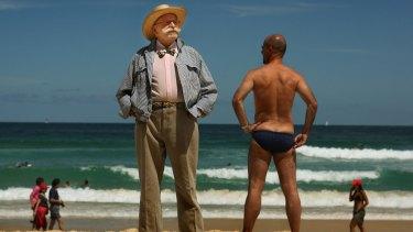 Peter Travis, left, designed the Speedo bathing suit modelled by his nephew Jamie Travis on Bondi Beach.