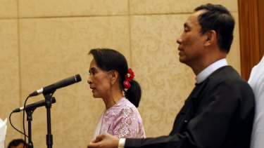 Myanmar pro-democracy leader Aung San Suu Kyi with Shwe Mann in March 2014. He had hoped that she would back him for the presidency.