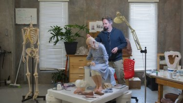 Sam Jinks in his surprisingly neat Coburg studio.