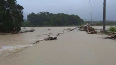 A flooded road in central province of Binh Dinh, Vietnam after Typhoon Damrey hit the area.