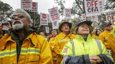 CFA volunteers and supporters rally in Treasury Gardens on June 5.