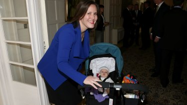 Assistant Treasurer Kelly O'Dwyer with her daughter Olivia.