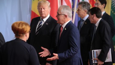 Prime Minister Malcolm Turnbull with US President Donald Trump at the G20 meeting in Hamburg last month.