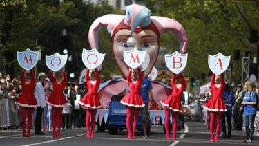 Last year's Moomba parade on St Kilda Road.