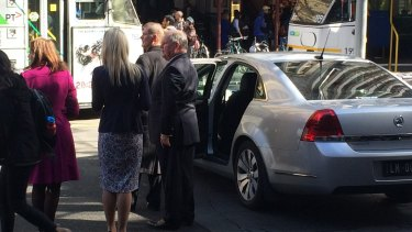 Robert Doyle beside his lord mayoral limousine.