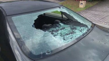 Hail damage to car owned by Rouse Hill resident Ben Little.