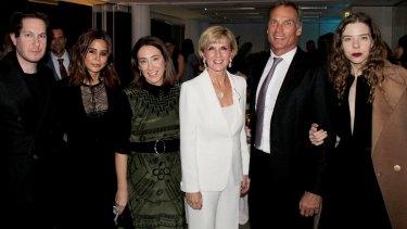 Designer Marc Freeman, <i>Vogue Australia</i> fashion director Christine Centenera, AFC chairwoman Edwina McCann, Foreign Minister Julie Bishop and partner David Panton with designer Bianca Spender at the AFC's birthday celebrations.