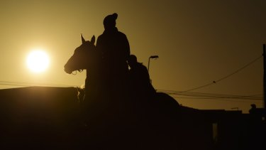 """Lucy Yeomans rides Jameka after work at Mordialloc beach. She gets to see the sunrise every morning, """"which is pretty special""""."""