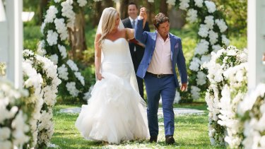 Gabrielle Bartlett and Nasser Sultan on their wedding day in season four of Married at First Sight.