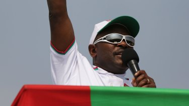 Burundian President Pierre Nkurunziza launching his official campaign for the presidency at a rally on Thursday in Busoni, Burundi.