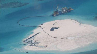 Reclamation: A Chinese vessel works on expanding the Johnson Reef in the Spratly Islands on May, 2014.