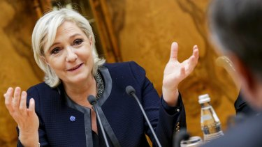 French far-right presidential candidate Marine Le Pen in Moscow.