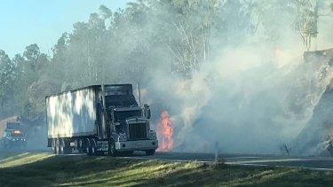 Bushfire on the Bruce Highway near Caloundra.