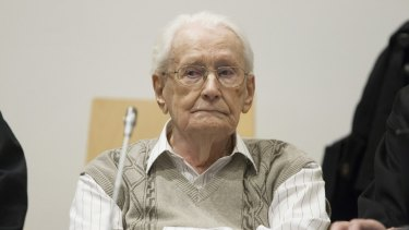 Oskar Groening at the trial in Lueneburg, Germany on Tuesday.