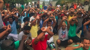 A protest by the Manus Island demonstrators,  tweeted by Greens senator for Tasmania Nick McKim in October.