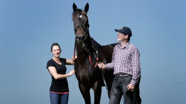 Trainer Francis Finnigan and his wife Samantha with Thunderbird One at Cranbourne racecourse on Wednesday.