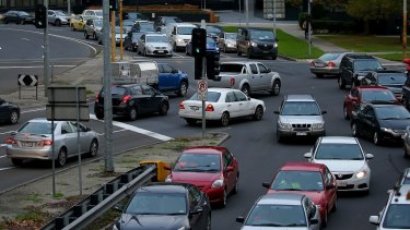 Motorists clog the intersection as traffic crawls along Kings Way.