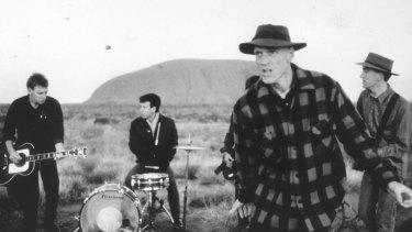 A 1986 photo of Midnight Oil touring aboriginal communities.