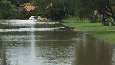 Cars are caught up in the floods in Ocean Shores on the NSW North Coast.